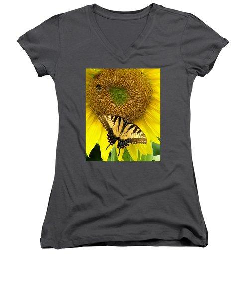 Secret Lives Of Sunflowers Women's V-Neck T-Shirt