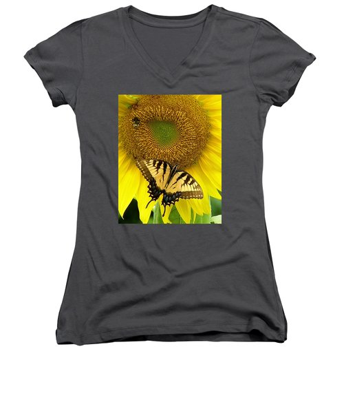 Secret Lives Of Sunflowers Women's V-Neck (Athletic Fit)
