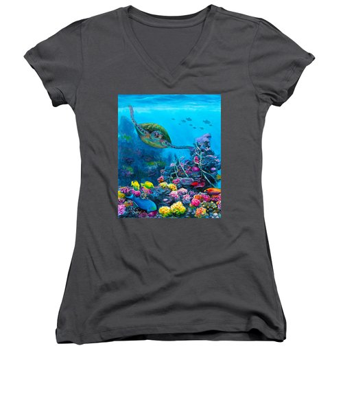 Secret Sanctuary - Hawaiian Green Sea Turtle And Reef Women's V-Neck