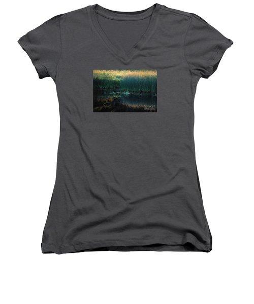 Women's V-Neck T-Shirt (Junior Cut) featuring the photograph Sedges At Sunset by Cynthia Lagoudakis