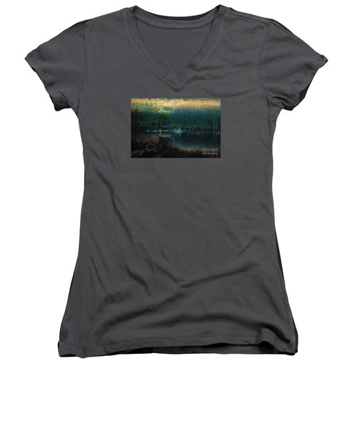 Sedges At Sunset Women's V-Neck T-Shirt