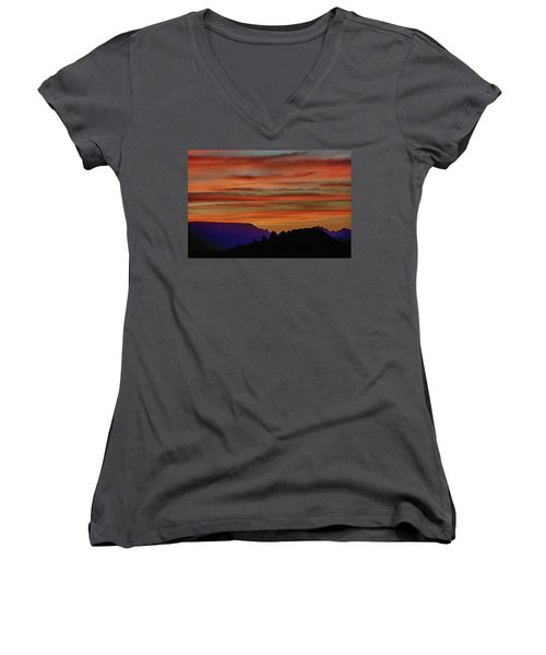 Sedona Az Sunset 2 Women's V-Neck (Athletic Fit)