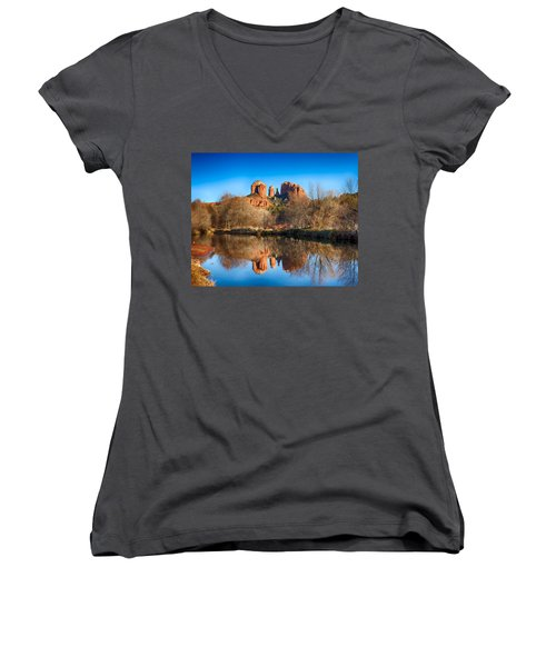 Sedona Winter Reflections Women's V-Neck (Athletic Fit)
