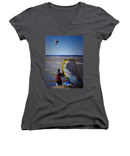 See Ya Roun Women's V-Neck T-Shirt (Junior Cut) by Robert McCubbin