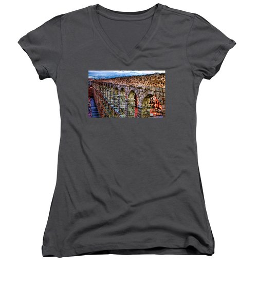 Segovia Aqueduct Spain By Diana Sainz Women's V-Neck