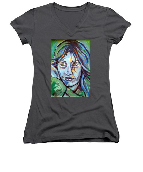 Women's V-Neck T-Shirt (Junior Cut) featuring the painting Self Portrait by Helena Wierzbicki