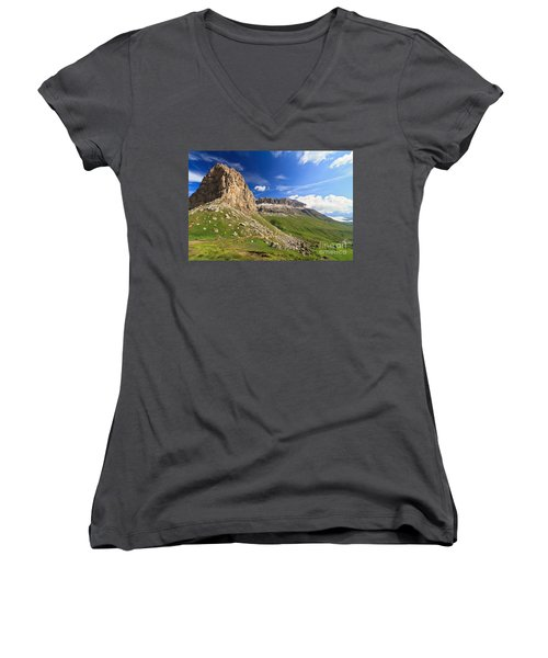 Women's V-Neck T-Shirt (Junior Cut) featuring the photograph Sella Mountain And Pordoi Pass by Antonio Scarpi