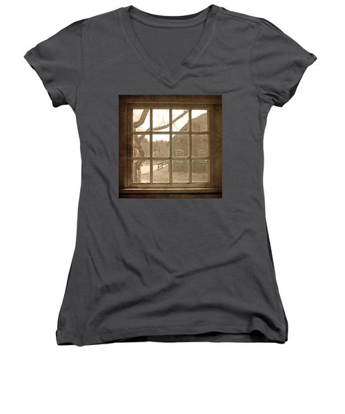 Women's V-Neck T-Shirt (Junior Cut) featuring the photograph Sepia Colonial Scene Through Antique Window by Brooke T Ryan
