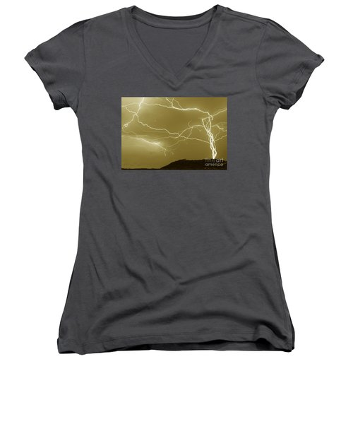 Sepia Converging Lightning Women's V-Neck (Athletic Fit)