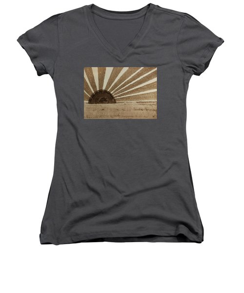 Sepia Sunset Original Painting Women's V-Neck (Athletic Fit)