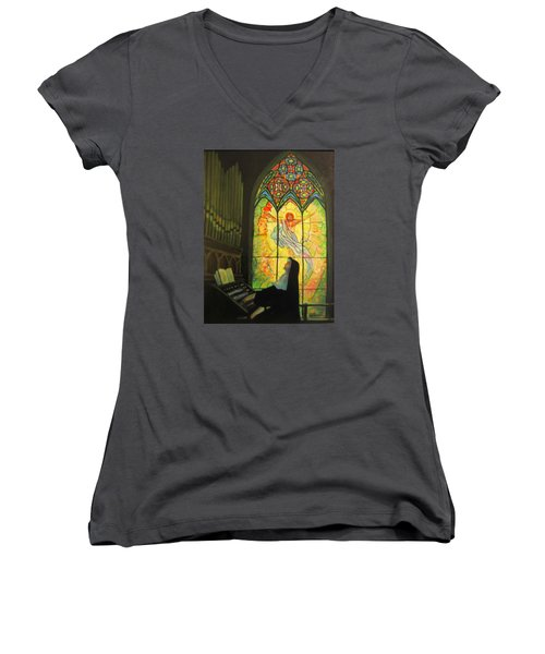 Serenity  Women's V-Neck T-Shirt (Junior Cut) by Donna Tucker