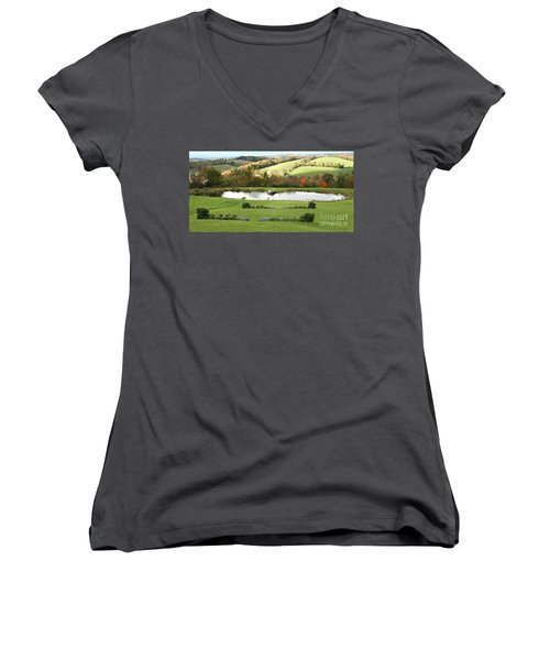 Women's V-Neck T-Shirt (Junior Cut) featuring the photograph Serenity Hill by Carol Lynn Coronios
