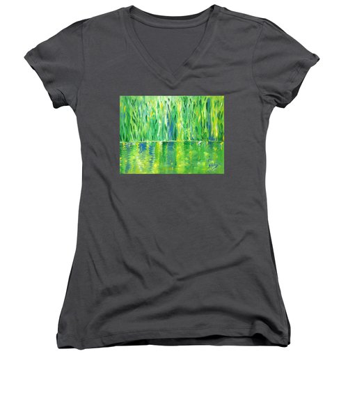 Serenity In Green Women's V-Neck (Athletic Fit)