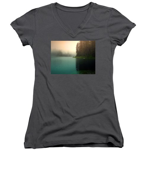 Serenity On Blue Lake Foggy Afternoon Women's V-Neck (Athletic Fit)