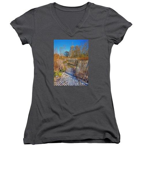 Serenity Trail.... Women's V-Neck T-Shirt (Junior Cut) by Nina Stavlund