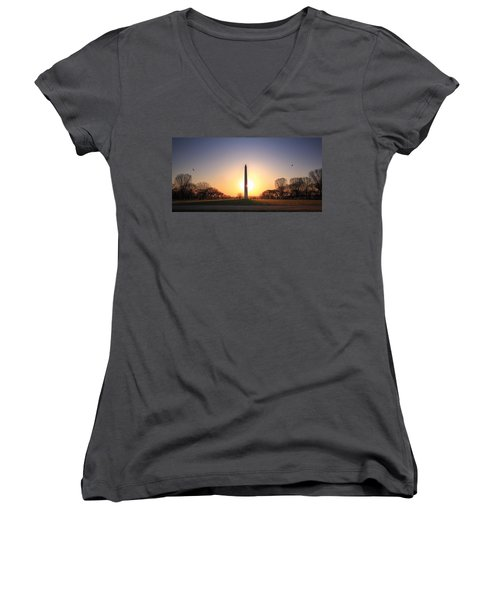 Setting Sun On Washington Monument Women's V-Neck (Athletic Fit)