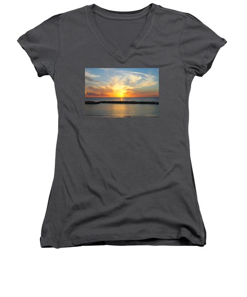 Seven Mile Sunset Over Grand Cayman Women's V-Neck T-Shirt (Junior Cut) by Amy McDaniel