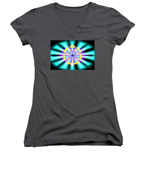 Women's V-Neck T-Shirt (Junior Cut) featuring the drawing Seventh Ray Of Consciousness by Derek Gedney