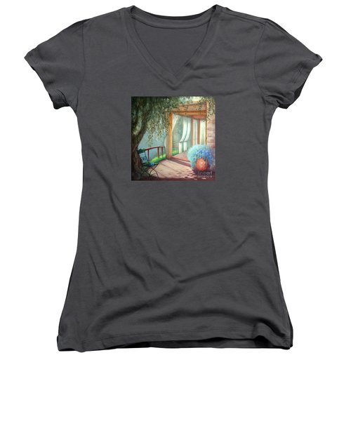 Women's V-Neck T-Shirt (Junior Cut) featuring the painting Shade Of The Olive Tree by Michael Rock