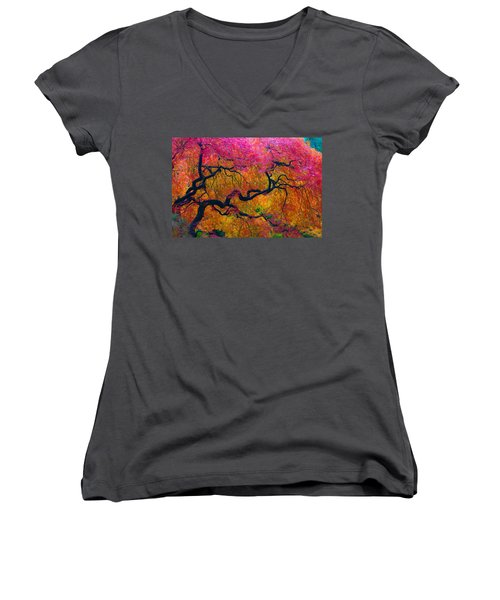 Shades Of Autumn Women's V-Neck (Athletic Fit)