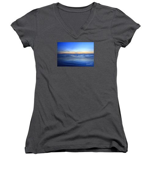 Women's V-Neck T-Shirt (Junior Cut) featuring the photograph Rocks In Surf Carlsbad by John F Tsumas