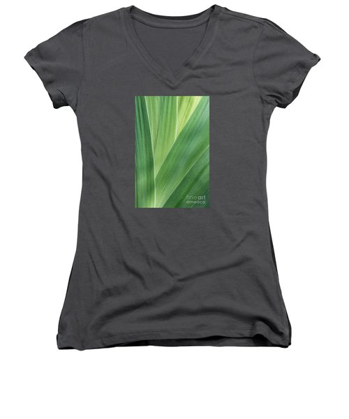 Women's V-Neck T-Shirt (Junior Cut) featuring the photograph Shades Of Green #2 by Judy Whitton