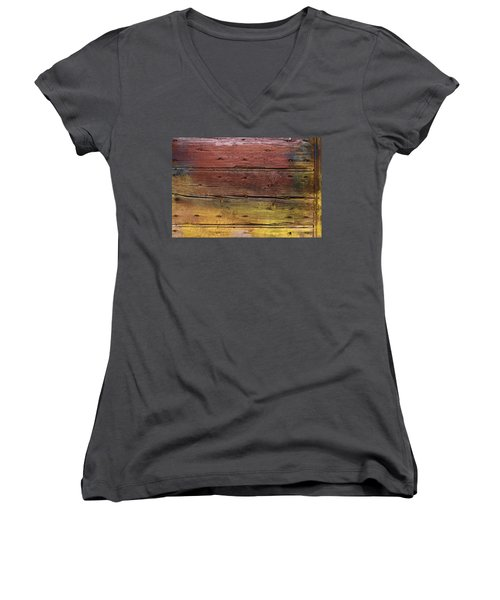 Women's V-Neck T-Shirt (Junior Cut) featuring the digital art Shades Of Red And Yellow by Ron Harpham
