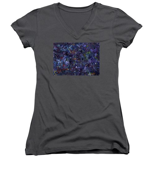 Women's V-Neck T-Shirt (Junior Cut) featuring the painting Shadow Blue by James W Johnson