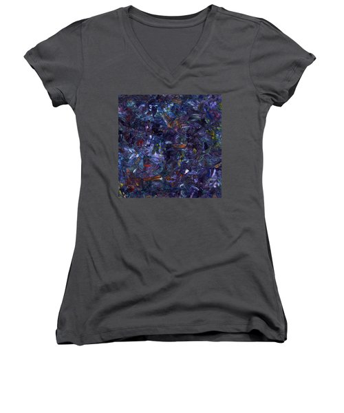 Women's V-Neck T-Shirt (Junior Cut) featuring the painting Shadow Blue Square by James W Johnson