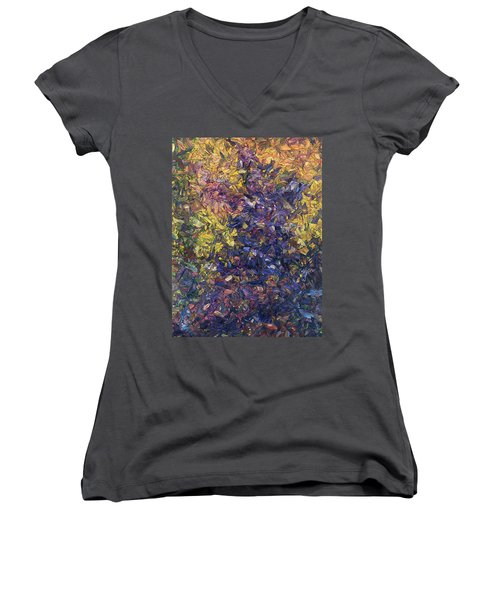 Women's V-Neck T-Shirt (Junior Cut) featuring the painting Shadow Dance by James W Johnson