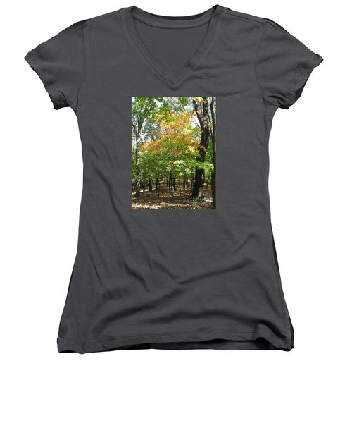 Shadows In The Forest Women's V-Neck (Athletic Fit)