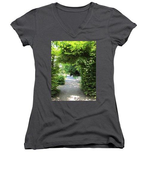 Women's V-Neck T-Shirt (Junior Cut) featuring the photograph Shady Retreat by Pema Hou