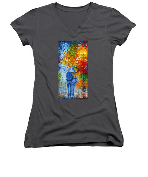 Women's V-Neck featuring the painting Sharing Love On A Rainy Evening Original Palette Knife Painting by Georgeta Blanaru