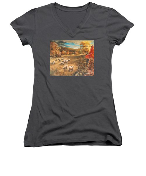 Sheep In October's Field Women's V-Neck T-Shirt (Junior Cut) by Joy Nichols