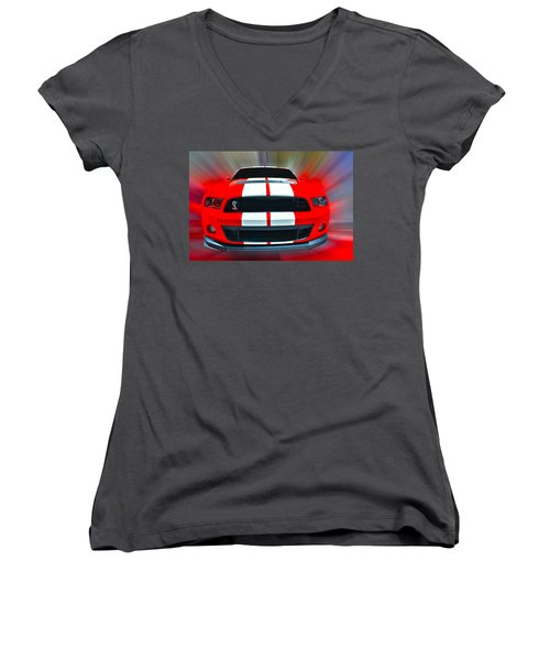 Shelby Gt 500  2013 Women's V-Neck (Athletic Fit)