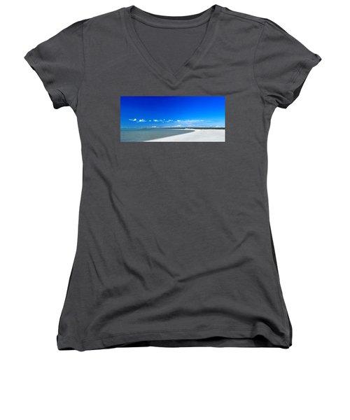 Women's V-Neck T-Shirt (Junior Cut) featuring the photograph Shell Beach by Yew Kwang