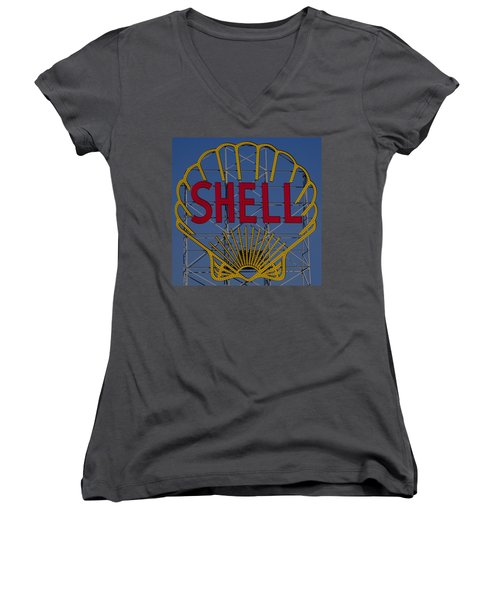 Shell Sign Cambridgeside Women's V-Neck T-Shirt
