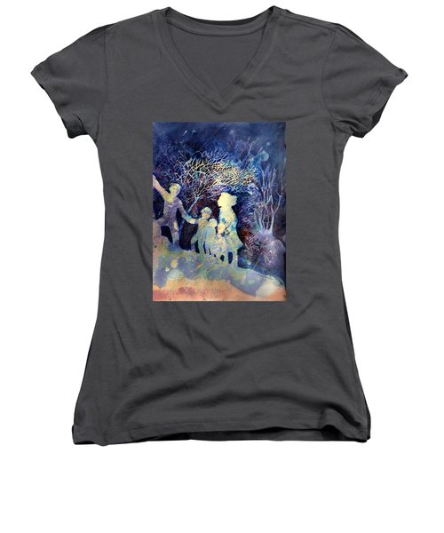 Shelter From The Storm Women's V-Neck T-Shirt (Junior Cut) by Marilyn Jacobson