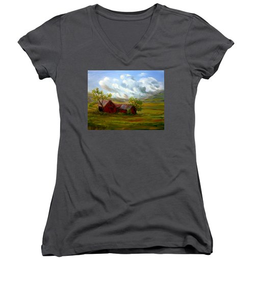 Women's V-Neck T-Shirt (Junior Cut) featuring the painting Shelter From The Storm by Meaghan Troup