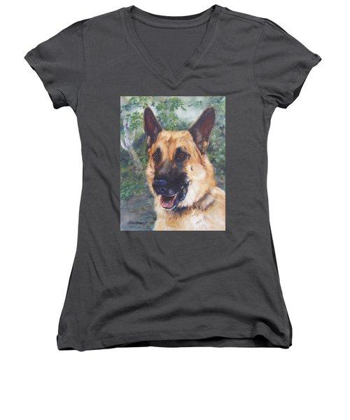 Women's V-Neck T-Shirt (Junior Cut) featuring the painting Shep by Lori Brackett