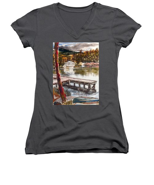 Shepherd Mountain Lake In Twilight Women's V-Neck (Athletic Fit)
