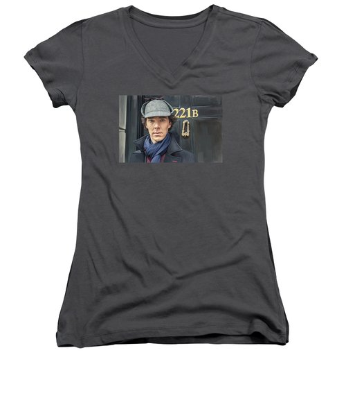 Women's V-Neck T-Shirt (Junior Cut) featuring the painting Sherlock Holmes Artwork by Sheraz A