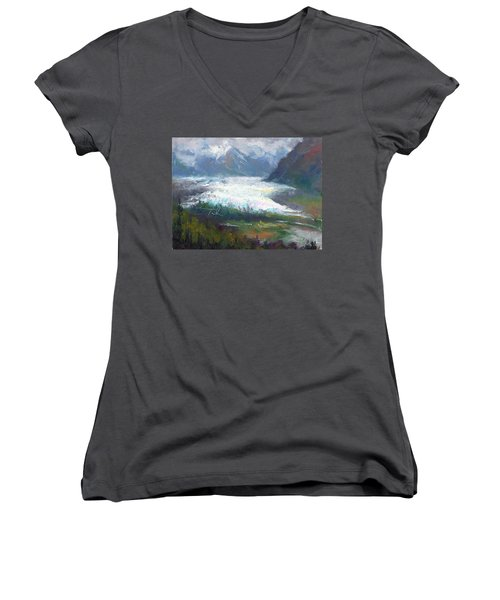 Shifting Light - Matanuska Glacier Women's V-Neck