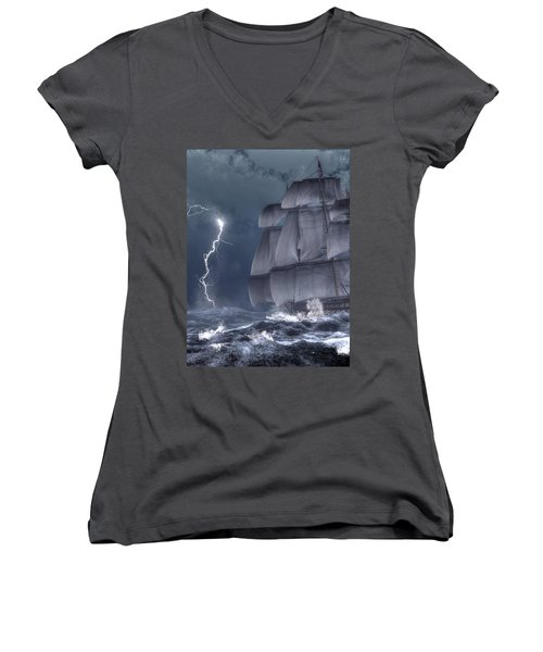 Ship In A Storm Women's V-Neck (Athletic Fit)