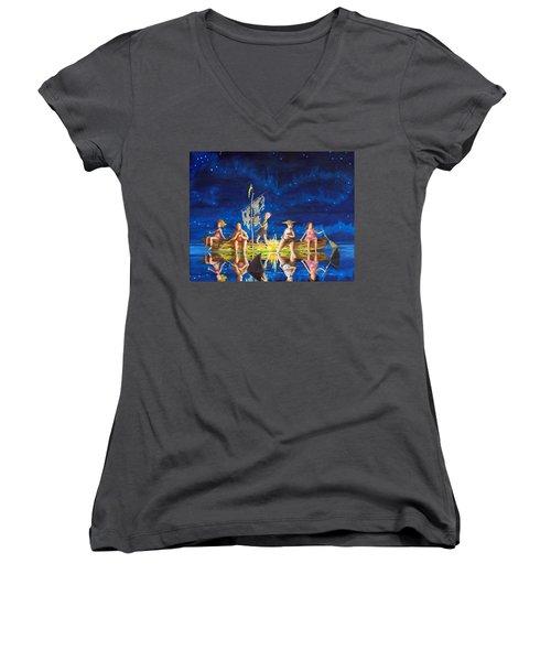 Ship Of Fools Women's V-Neck T-Shirt (Junior Cut) by Matt Konar