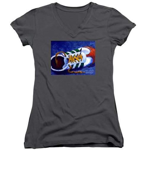 Women's V-Neck T-Shirt (Junior Cut) featuring the painting Shoeless by Jackie Carpenter
