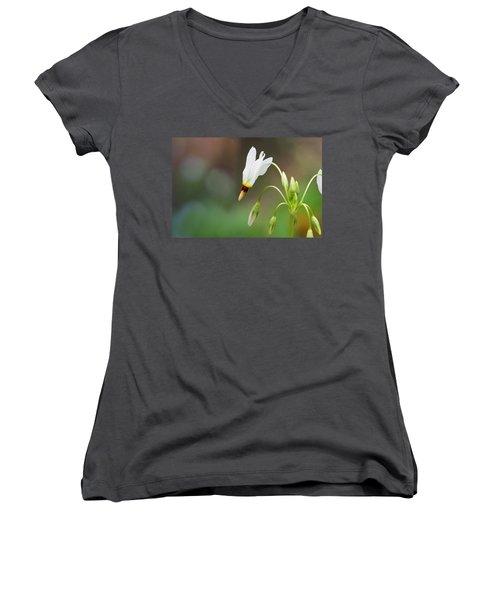 Shooting Star Wildflower Women's V-Neck T-Shirt (Junior Cut) by Melinda Fawver