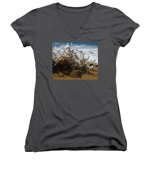 Shorebreak - The Wedge Women's V-Neck T-Shirt (Junior Cut) by Joe Schofield