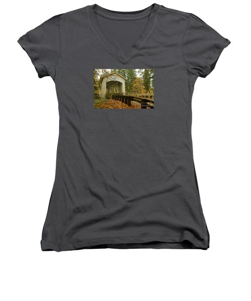 Women's V-Neck T-Shirt (Junior Cut) featuring the photograph Short Covered Bridge by Nick  Boren