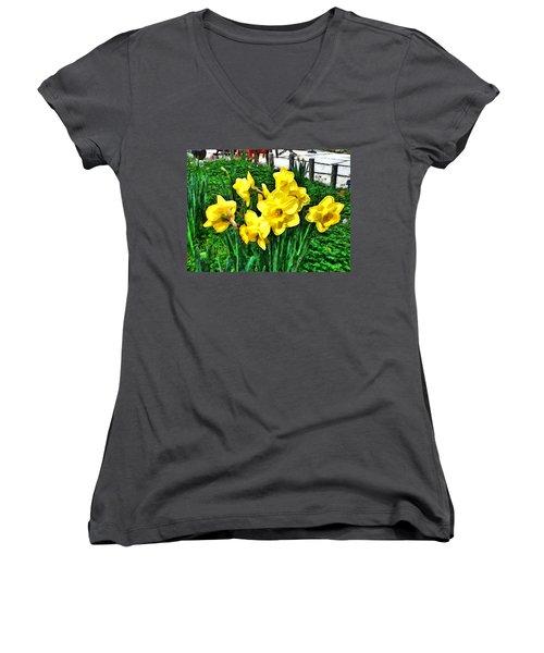 Shy Daffodils  Women's V-Neck T-Shirt